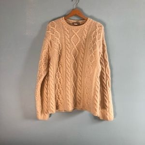 J Crew chunky cable knit wool fisherman sweater